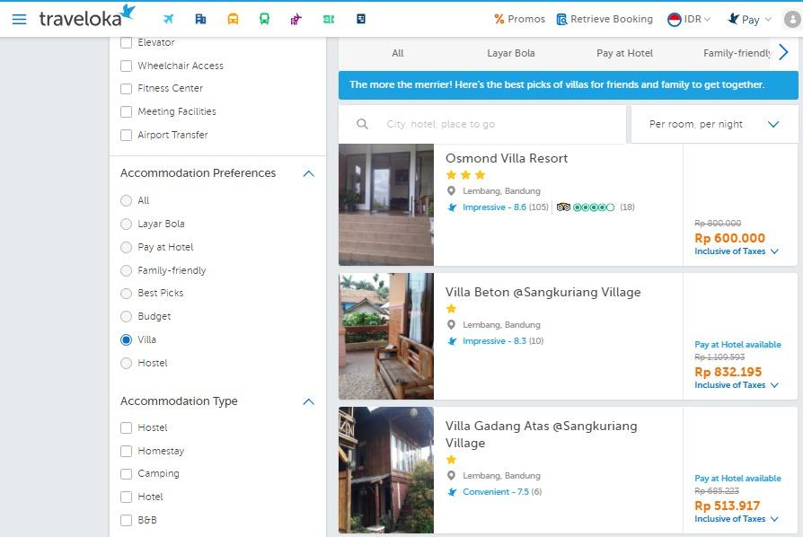 List Villa di Lembang -- centang sebagai filter. Sumber: Traveloka