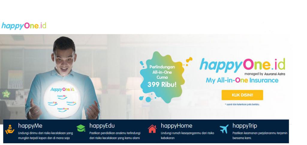 Tampilan Awal web happyOne.id dan Produk happyOne.id
