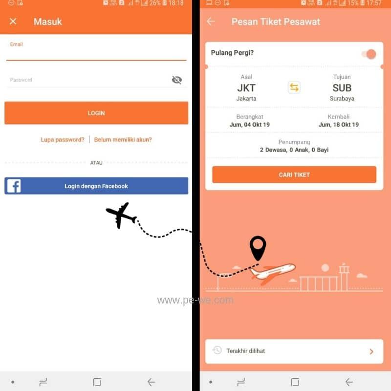 Login dan tentukan destinasi - Liburan ke Kota Wisata Batu dengan Promo Tiket Pesawat